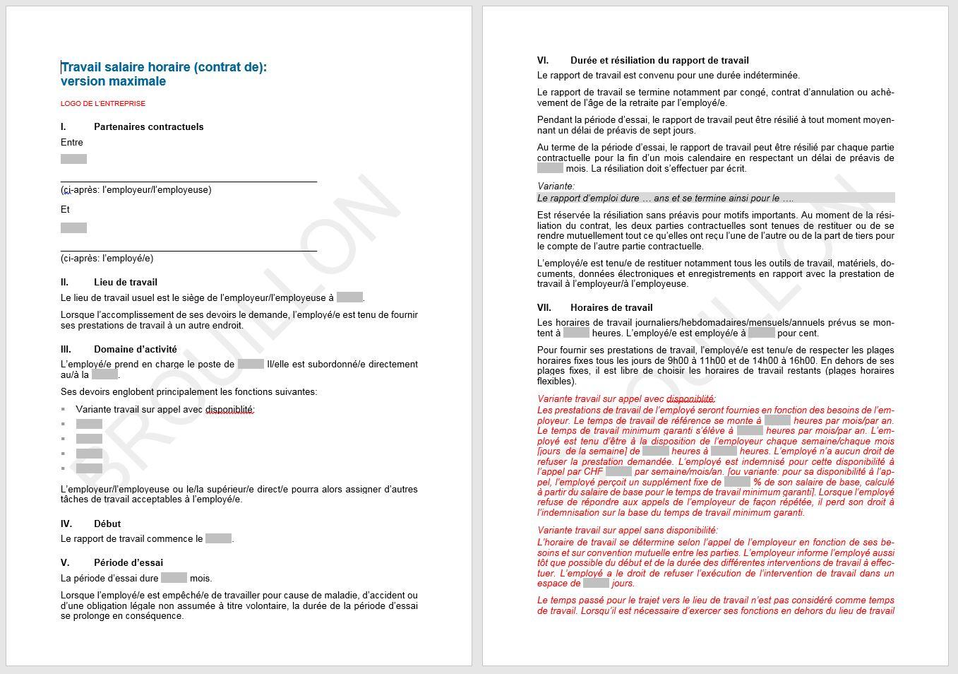 contrat de travail 80 Download Contrat de travail salaire horaire | UPSA | AGVS  contrat de travail 80